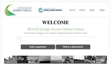 Launch of the SE4All Energy Access Online Forum, supported by the World Bank Group
